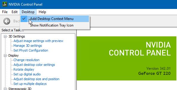 quitar el panel de control de nvidia del menú del botón derecho del ratón en Windows 10 pic3