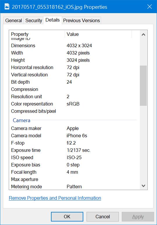 eliminar información personal de fotos en Windows 10 pic2