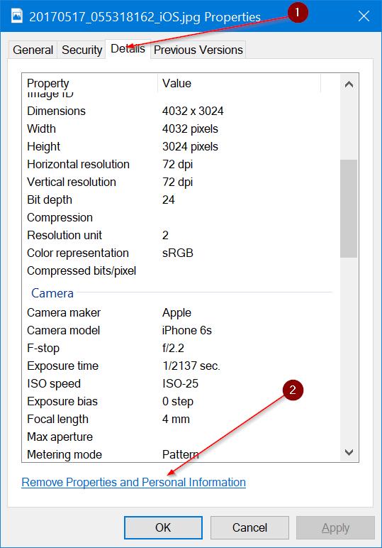 eliminar información personal de fotos en Windows 10 pic3