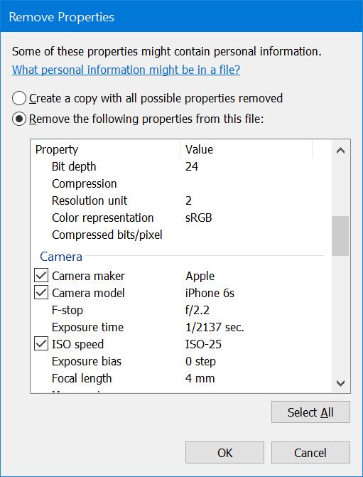 eliminar información personal de fotos en Windows 10 pic4