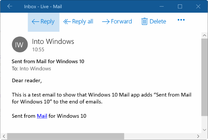 remove sent from mail for Windows 10 message pic1