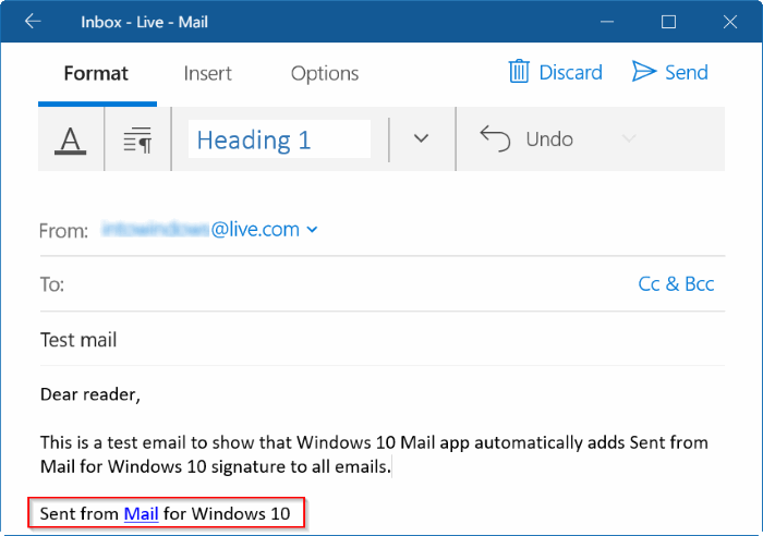 remove sent from mail for Windows 10 message pic2