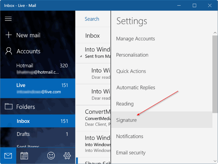 remove sent from mail for Windows 10 message pic4
