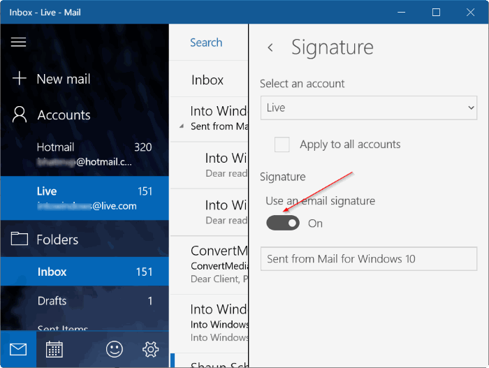 remove sent from mail for Windows 10 message pic5