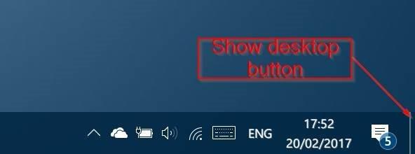 remove show desktop button from windows 10 taskbar pic1