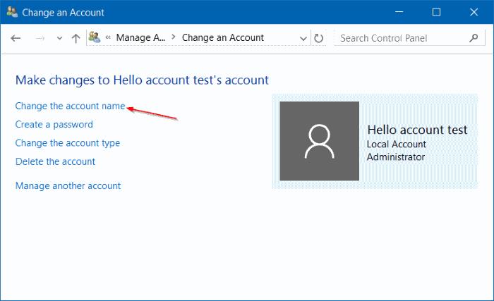 renombrar Microsoft o cuenta local en Windows 10 step10