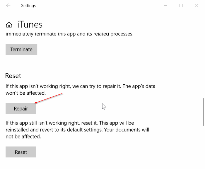 reparar y restablecer iTunes en Windows 10 pic2