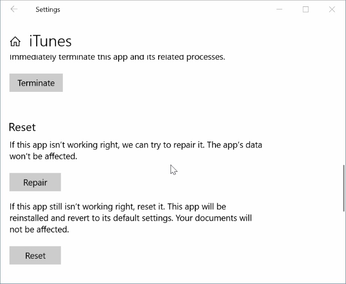 reparar y restablecer iTunes en Windows 10 pic3