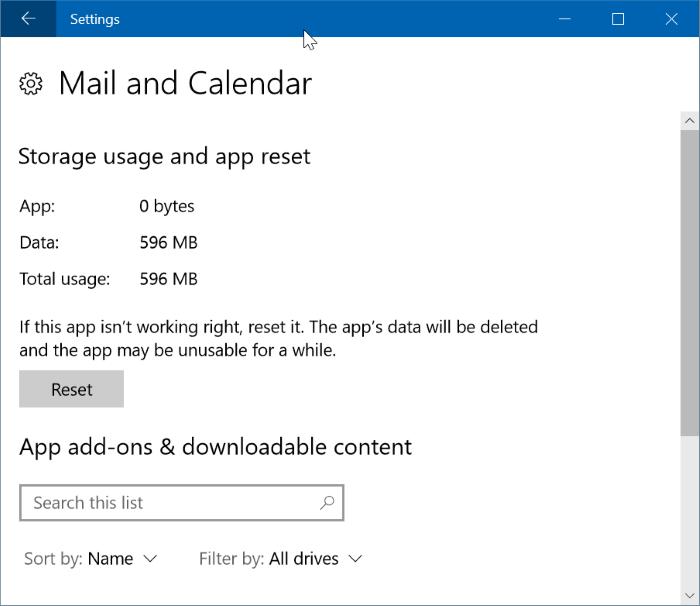 restablecer y reinstalar la aplicación Calendar en Windows 10 pic002