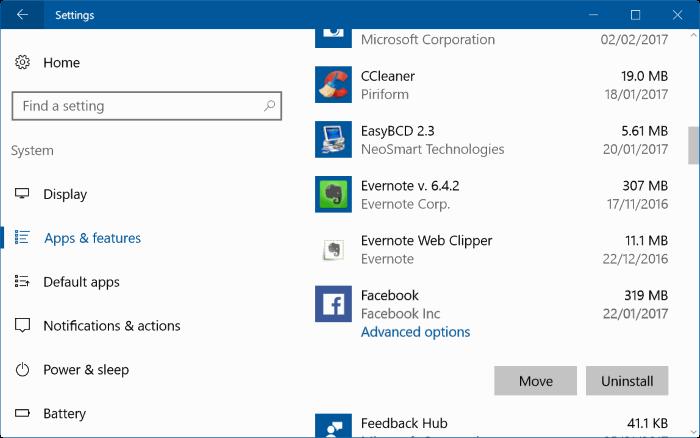 reset facebook app in Windows 10 pic1