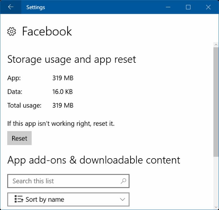 reset facebook app in Windows 10 pic2