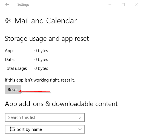 reset mail app in Windows 10 pic4
