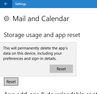 reset mail app in Windows 10 pic5