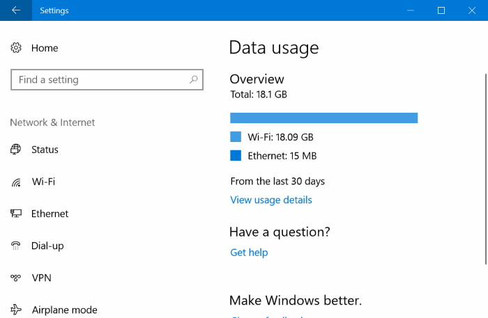 restablecer el uso de datos de red en Windows 10 pic01