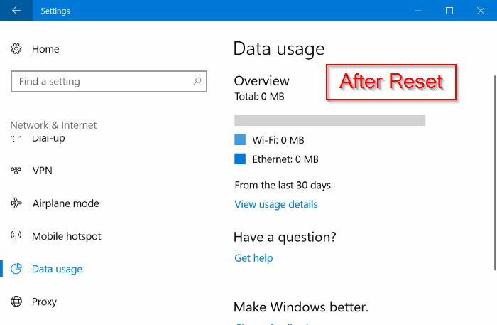 restablecer el uso de datos de red en Windows 10 pic02