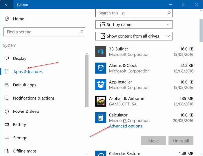 reiniciar o reinstalar Calculadora en Windows 10 step01