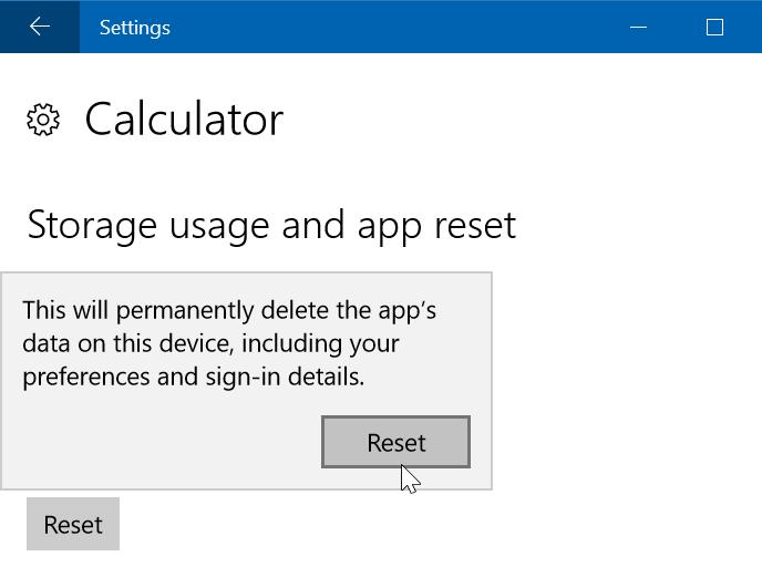 reiniciar o reinstalar Calculadora en Windows 10 step03
