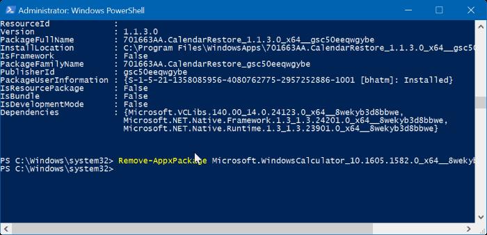 reiniciar o reinstalar Calculadora en Windows 10 step7