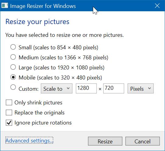 redimensionar imágenes desde el menú contextual en Windows 10 pic2