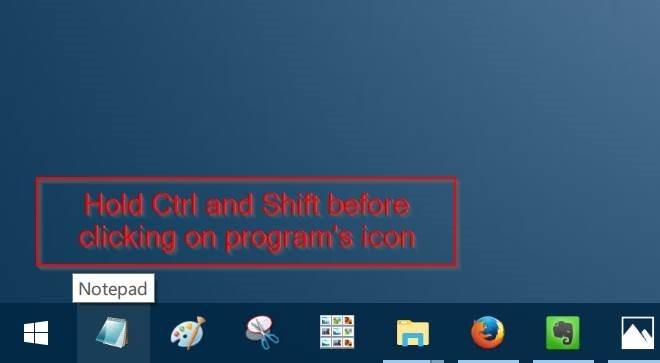 ejecutar un programa anclado en la barra de tareas como administrador de Windows 10 pic1