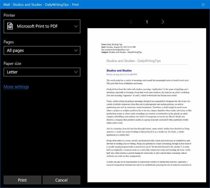 guardar emails como PDFs en Windows 10 pic2