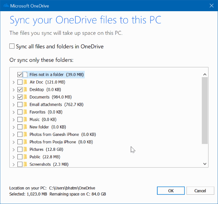 guardar carpetas de escritorio, documentos e imágenes en OneDrive en Windows 10 pic4