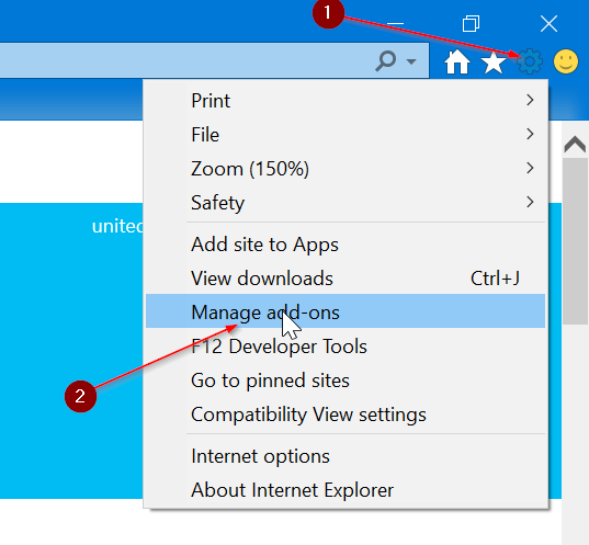 establecer Google como motor de búsqueda predeterminado en Internet Explorer en Windows 10 pic1