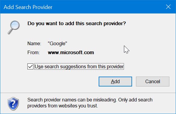 establecer Google como motor de búsqueda predeterminado en Internet Explorer en Windows 10 pic4