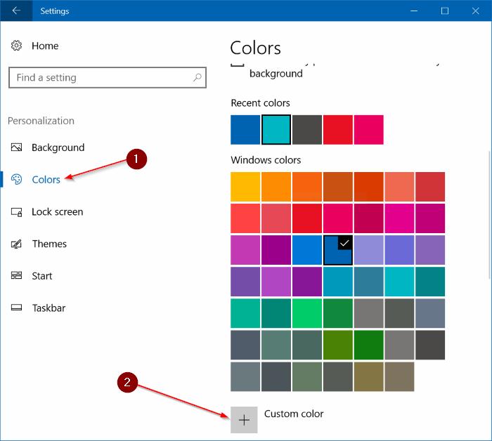 set custom color for taskbar and title bar Windows 10 pic1