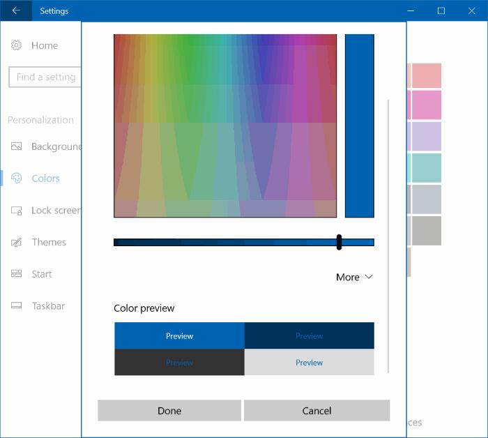 set custom color for taskbar and title bar Windows 10 pic2