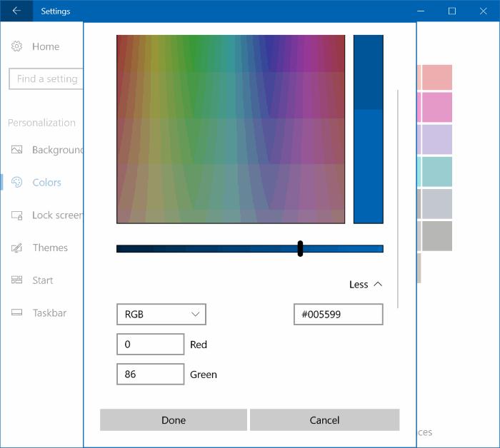 establecer color personalizado para la barra de tareas y la barra de título Windows 10 pic3