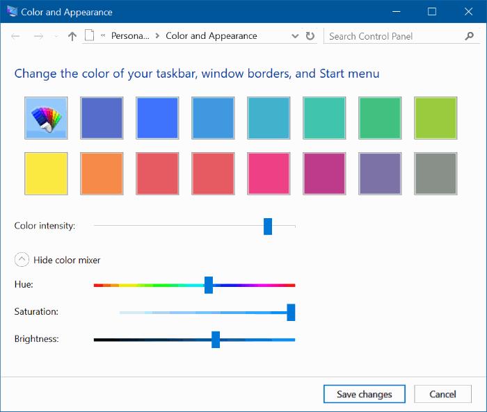 set custom color for taskbar and title bar Windows 10 pic4