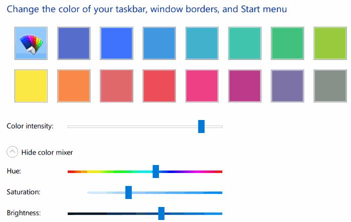 set custom color for taskbar and title bar Windows 10