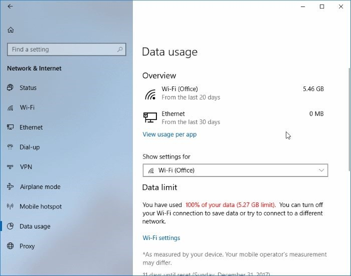 establecer límite de datos para redes WiFi en Windows 10 pic06