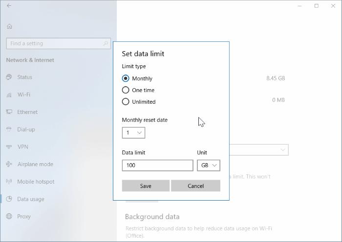 establecer límite de datos para redes WiFi en Windows 10 pic2