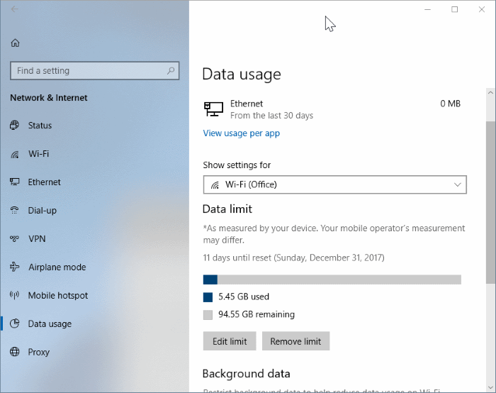 establecer límite de datos para redes WiFi en Windows 10 pic3