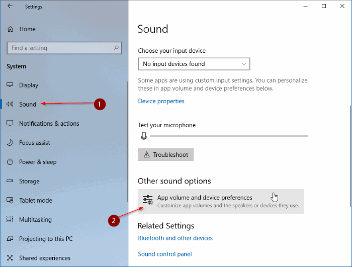 set different audio devices for different applications in Windows 10