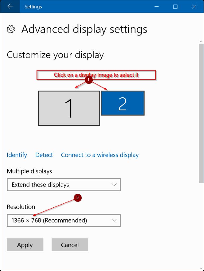 establecer diferentes resoluciones en cada monitor de Windows 10 step3