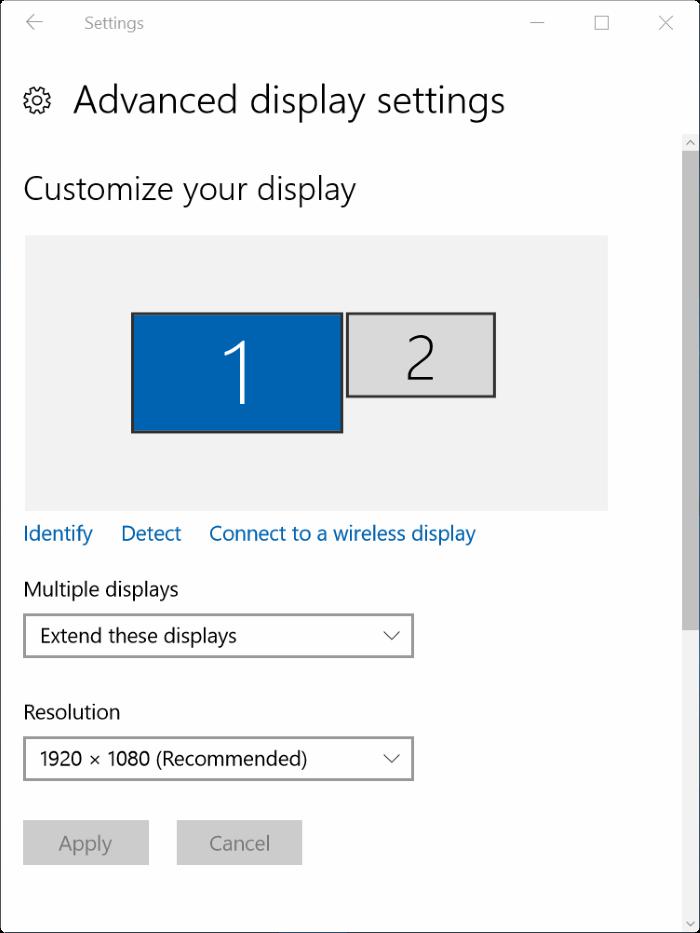 establecer diferentes resoluciones en cada monitor de Windows 10 step4.1