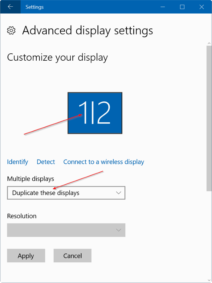 establecer diferentes resoluciones en cada monitor de Windows 10 step4