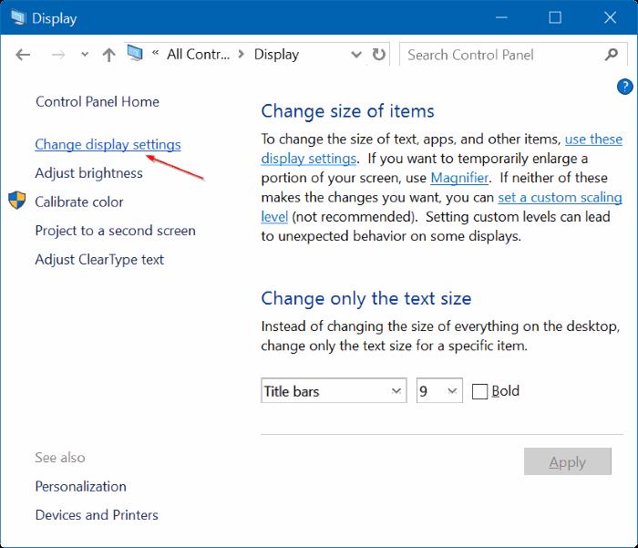establecer diferentes resoluciones en cada monitor en Windows 10 step8