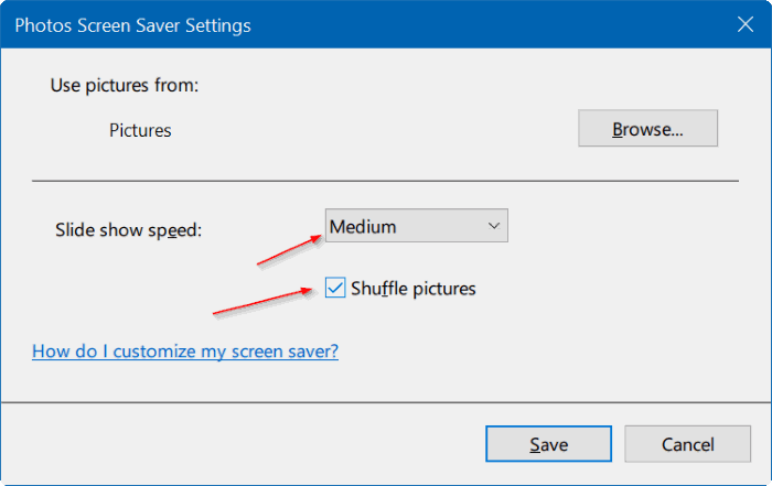 set photos as screen saver in Windows 10 pic5