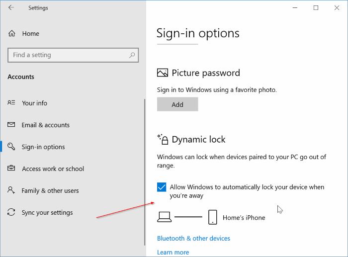 configurar bloqueo dinámico en Windows 10 pic9.1
