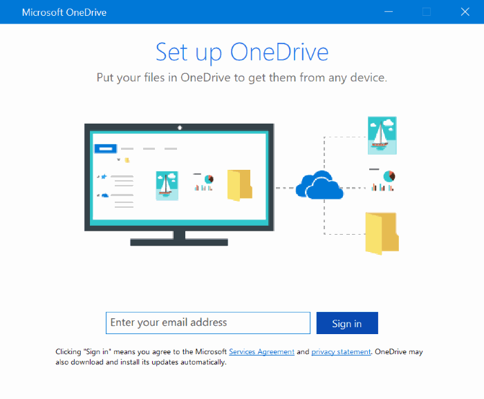 set up onedrive pop up in Windows 10