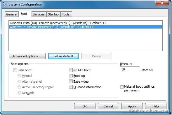 configure Windows 7 como sistema operativo predeterminado en el menú de arranque