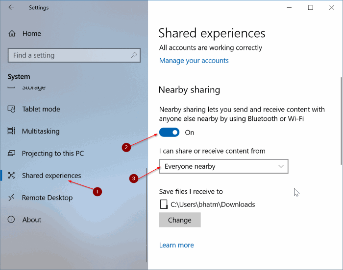 compartir archivos entre equipos con Windows 10 pic1