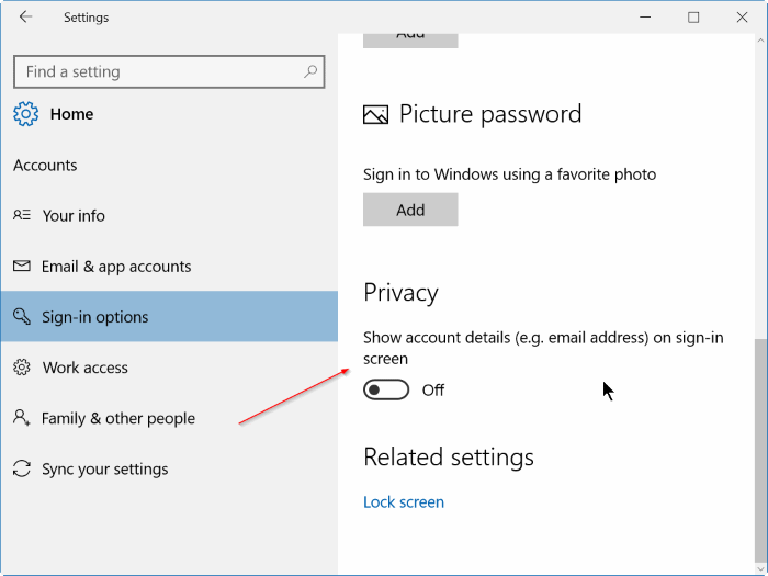 show hide hide email address on Windows 10 login screen step3