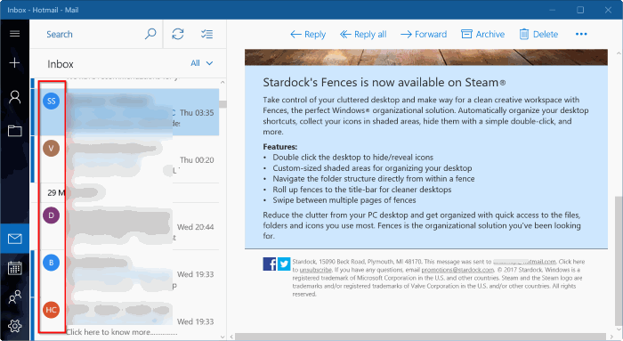 mostrar u ocultar imágenes del remitente en Windows 10 mail app pic1