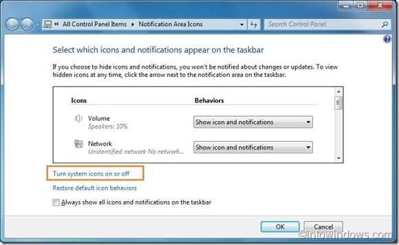 showhide clock from windows 7 taskbar