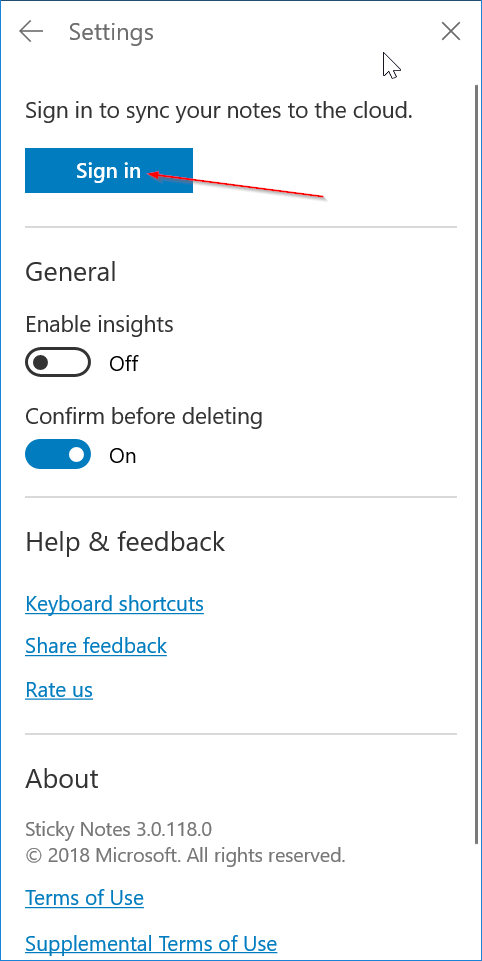 sign in or out of sticky notes in windows 10 pic7